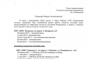 График работы почтового отделения в поселке Назарьево в период с 30.04.2017 по 10.052017